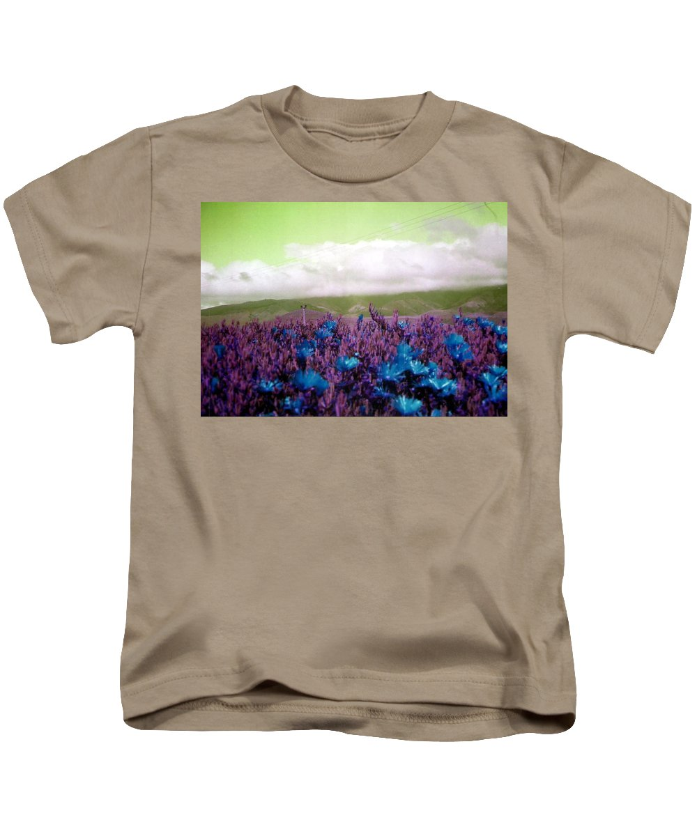 Blue Kids T-Shirt featuring the photograph Blue Blossoms by Charleen Treasures