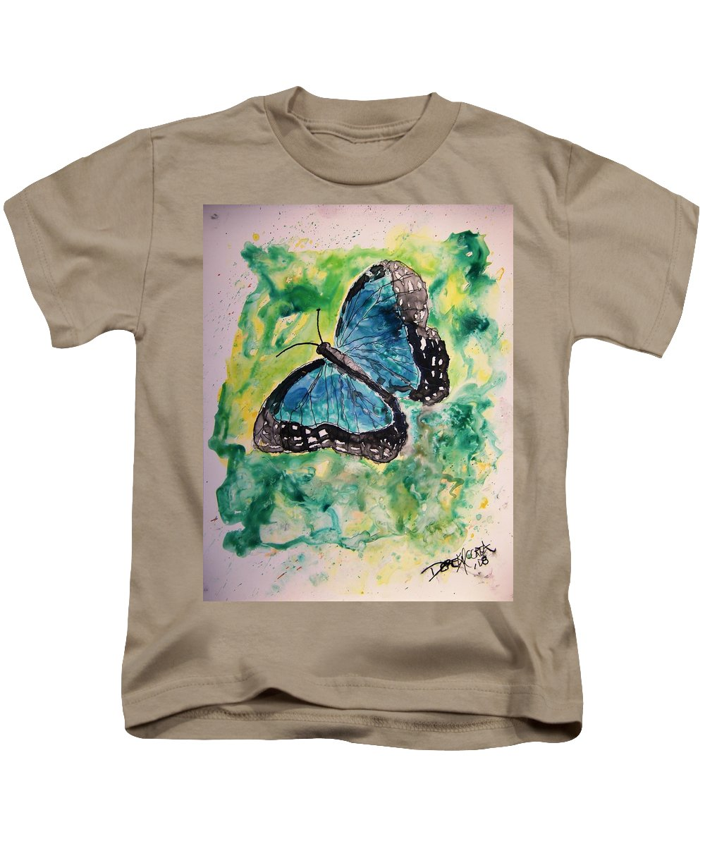 Wildlife Kids T-Shirt featuring the painting Blue Butterfly by Derek Mccrea