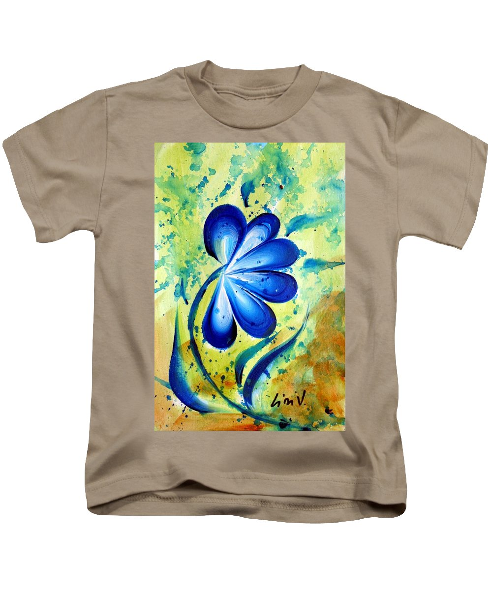 Flower Kids T-Shirt featuring the painting Blue Mood by Luiza Vizoli
