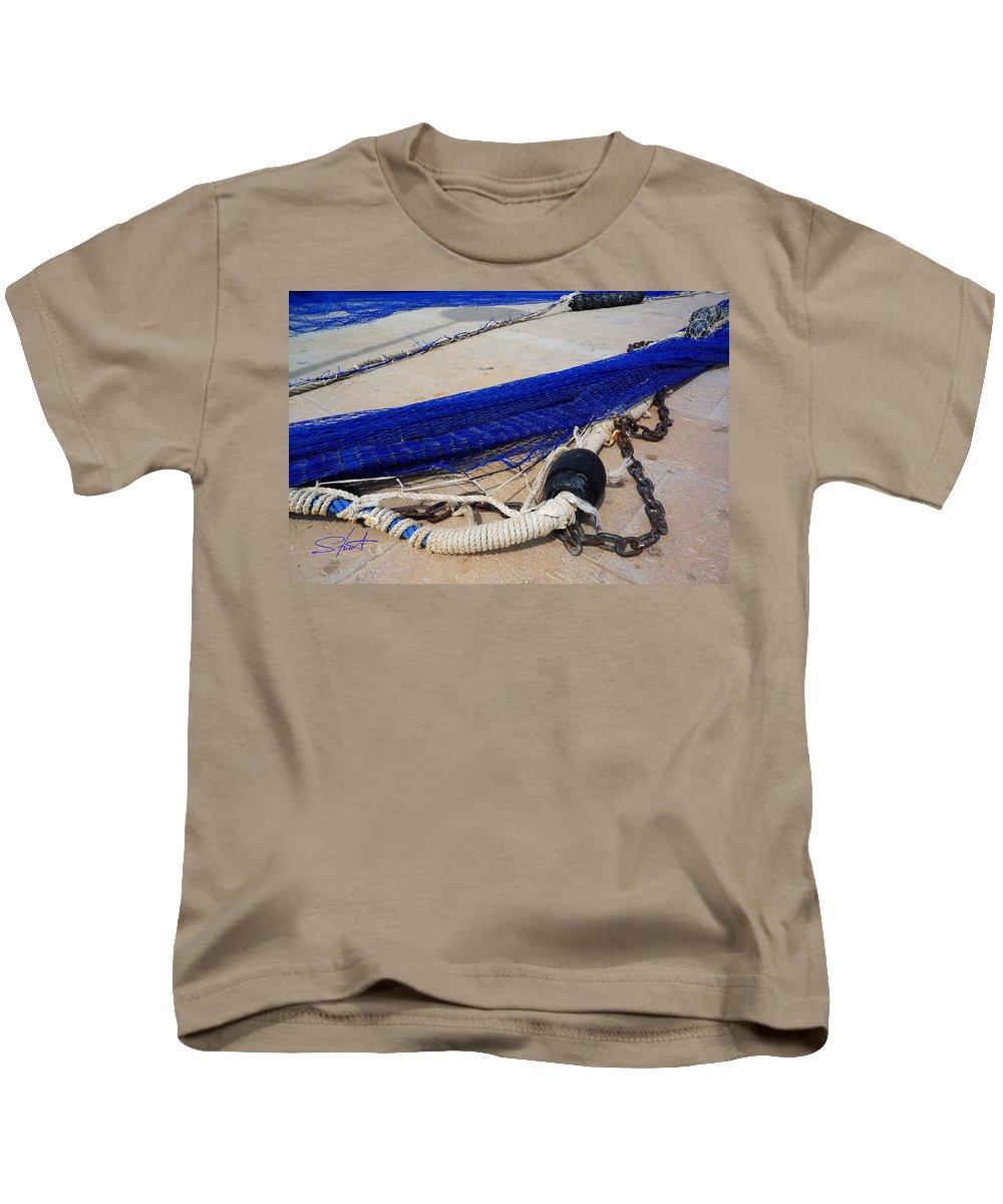 Fishing Net Kids T-Shirt featuring the photograph Blue Net by Charles Stuart