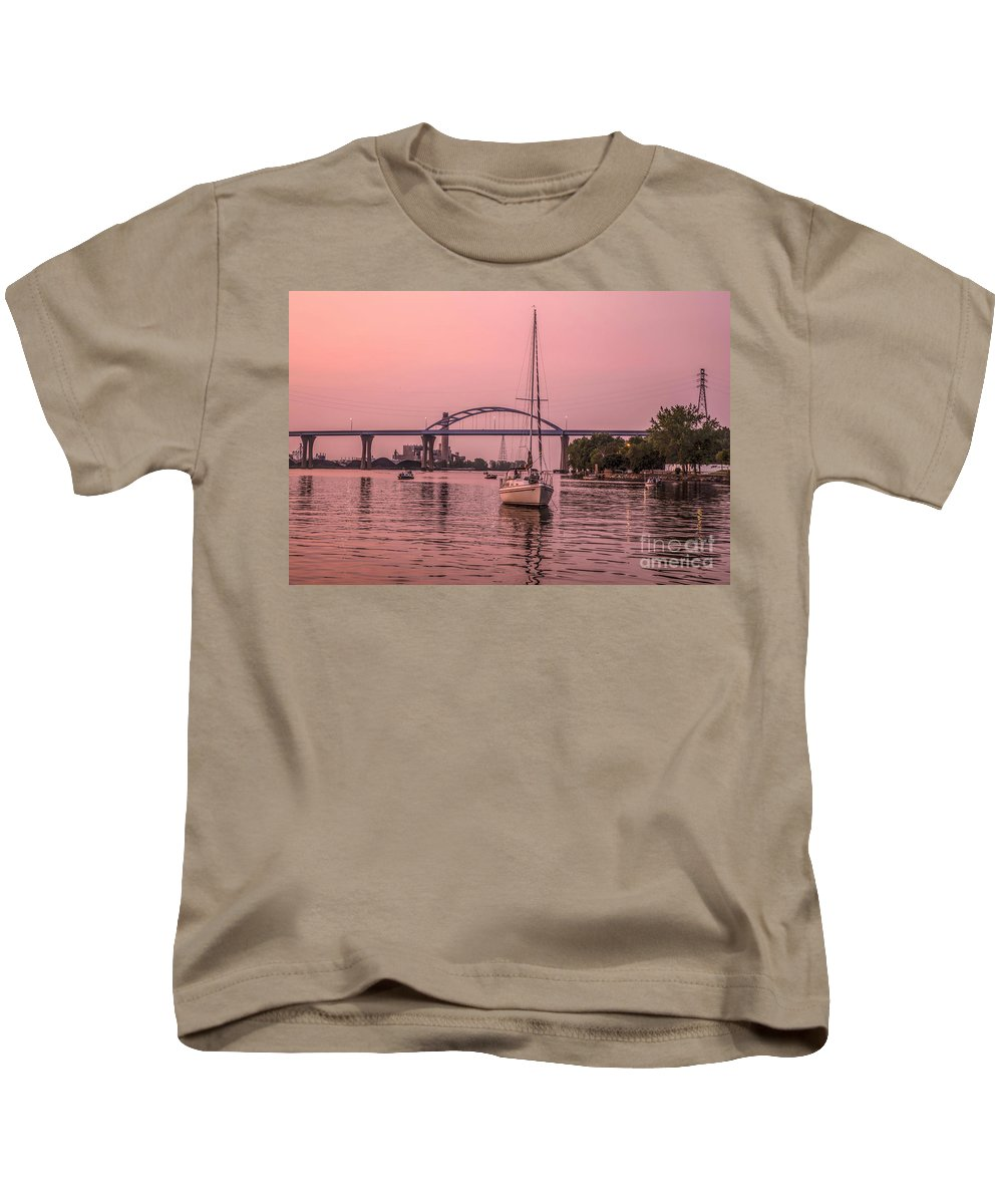 Sunset Kids T-Shirt featuring the photograph Boats Heading Out At Sunset To Watch Fireworks by Nikki Vig