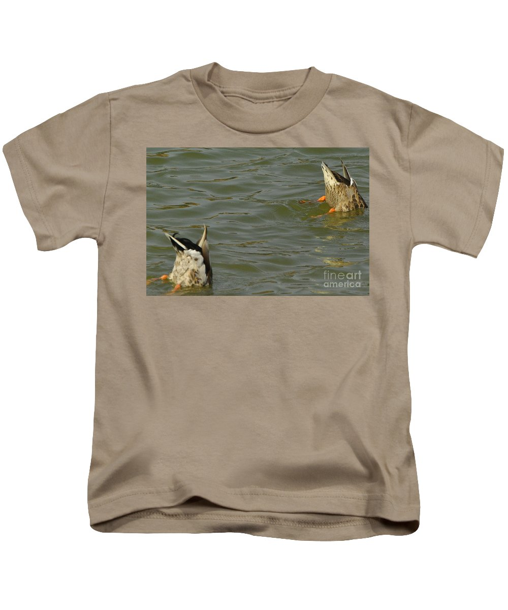 Ducks Kids T-Shirt featuring the photograph Bottoms Up by Vicky Tubb