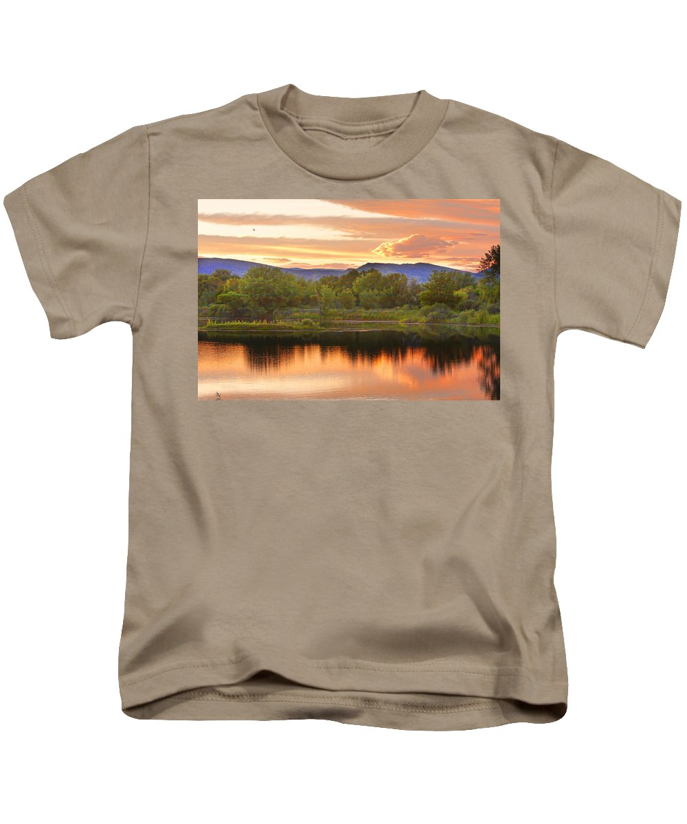 Sunsets Kids T-Shirt featuring the photograph Boulder County Lake Sunset Landscape 06.26.2010 by James BO Insogna