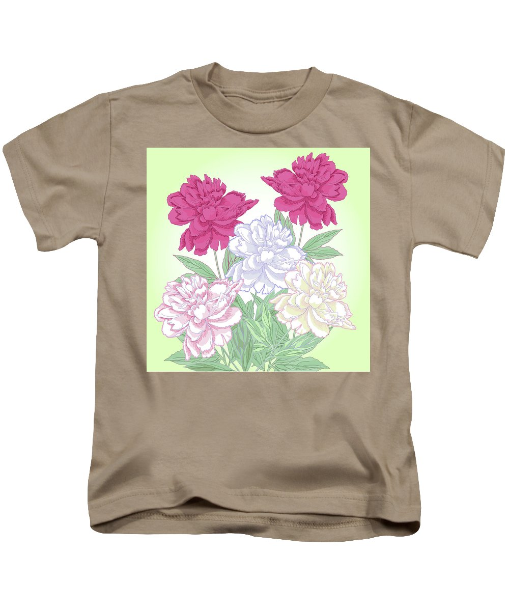 Peony Kids T-Shirt featuring the digital art Bouquet With White And Pink Peonies.spring by Natalia Piacheva