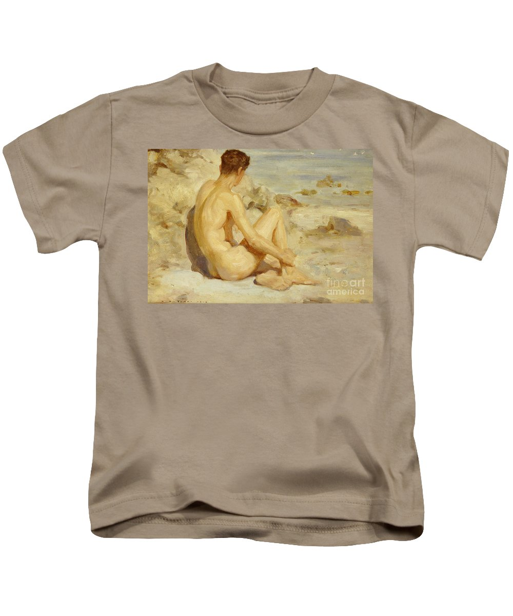 Male; Nude; Seated; Back; View; Sand; Model; Seashore; Boy On A Beach Kids T-Shirt featuring the painting Boy On A Beach by Henry Scott Tuke