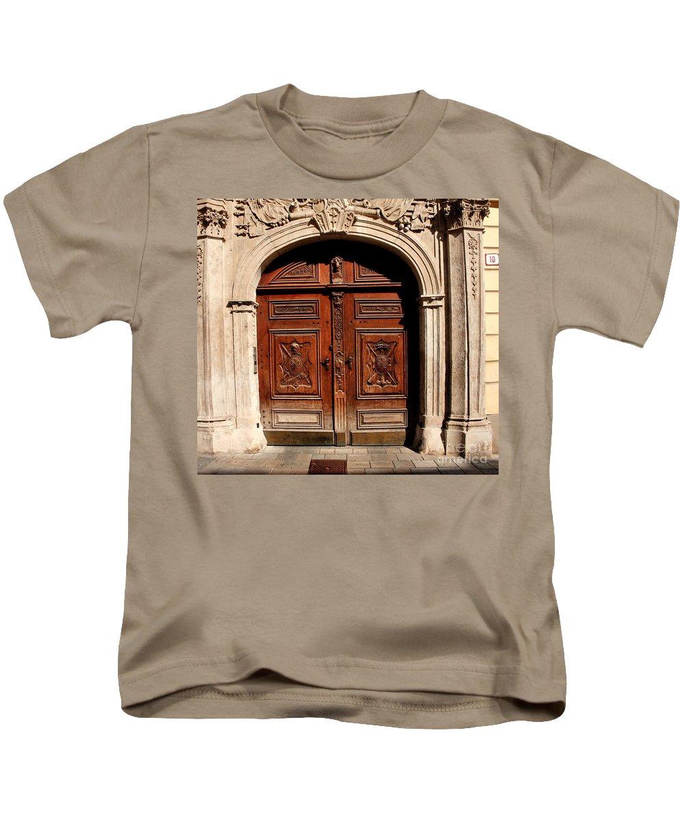 Doors Kids T-Shirt featuring the photograph Bratislava Doors by Thomas Marchessault