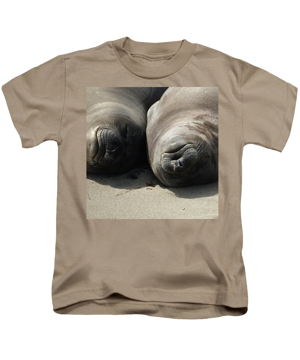 Elephant Seals Kids T-Shirt featuring the photograph Break Time by Ernie Echols