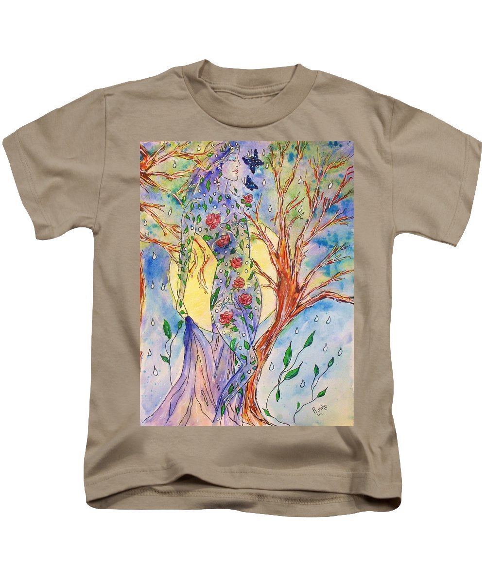 Female Figure Kids T-Shirt featuring the painting Breath Of Life by Robin Monroe