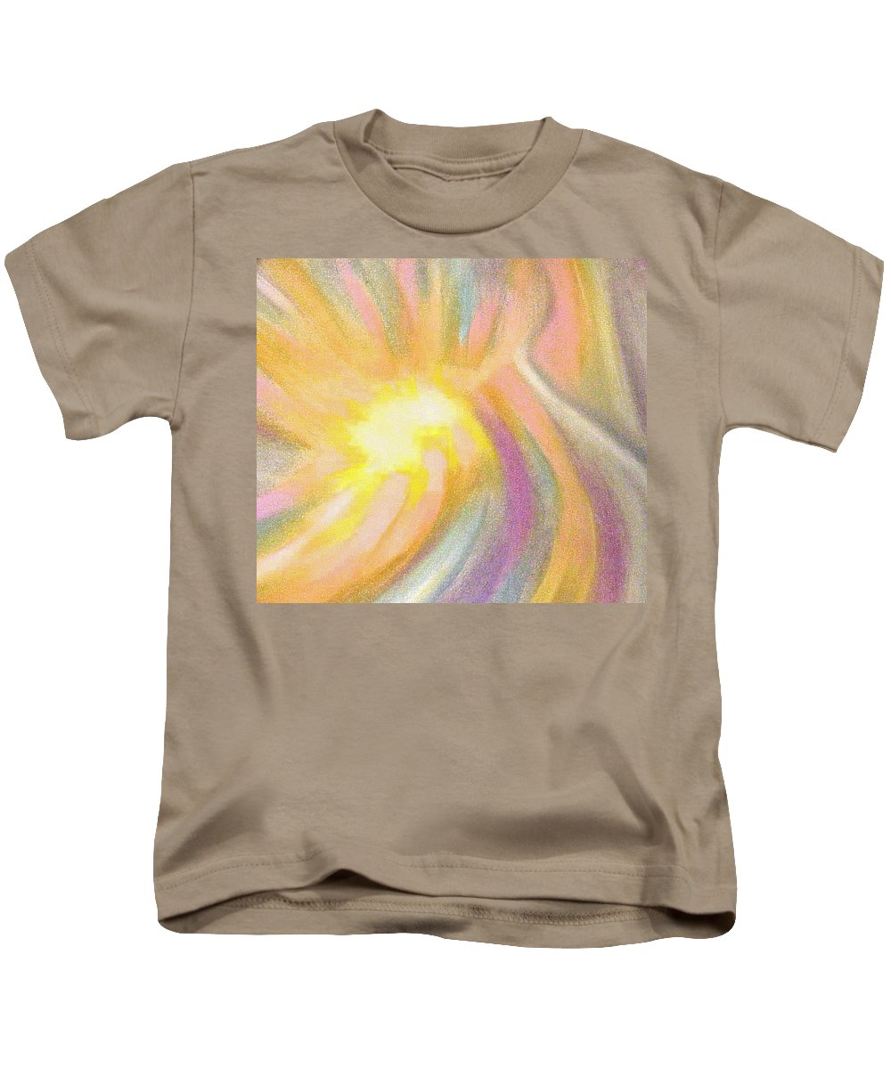 Pastel Drawing Colors Abstract Kids T-Shirt featuring the drawing Bright Light Flight by Jan Gilmore
