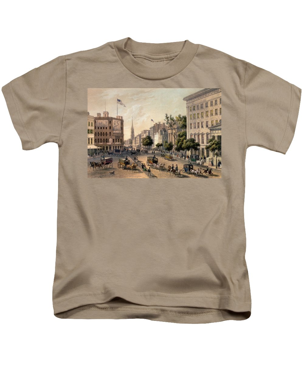 Broadway Kids T-Shirt featuring the painting Broadway In The Nineteenth Century by Augustus Kollner