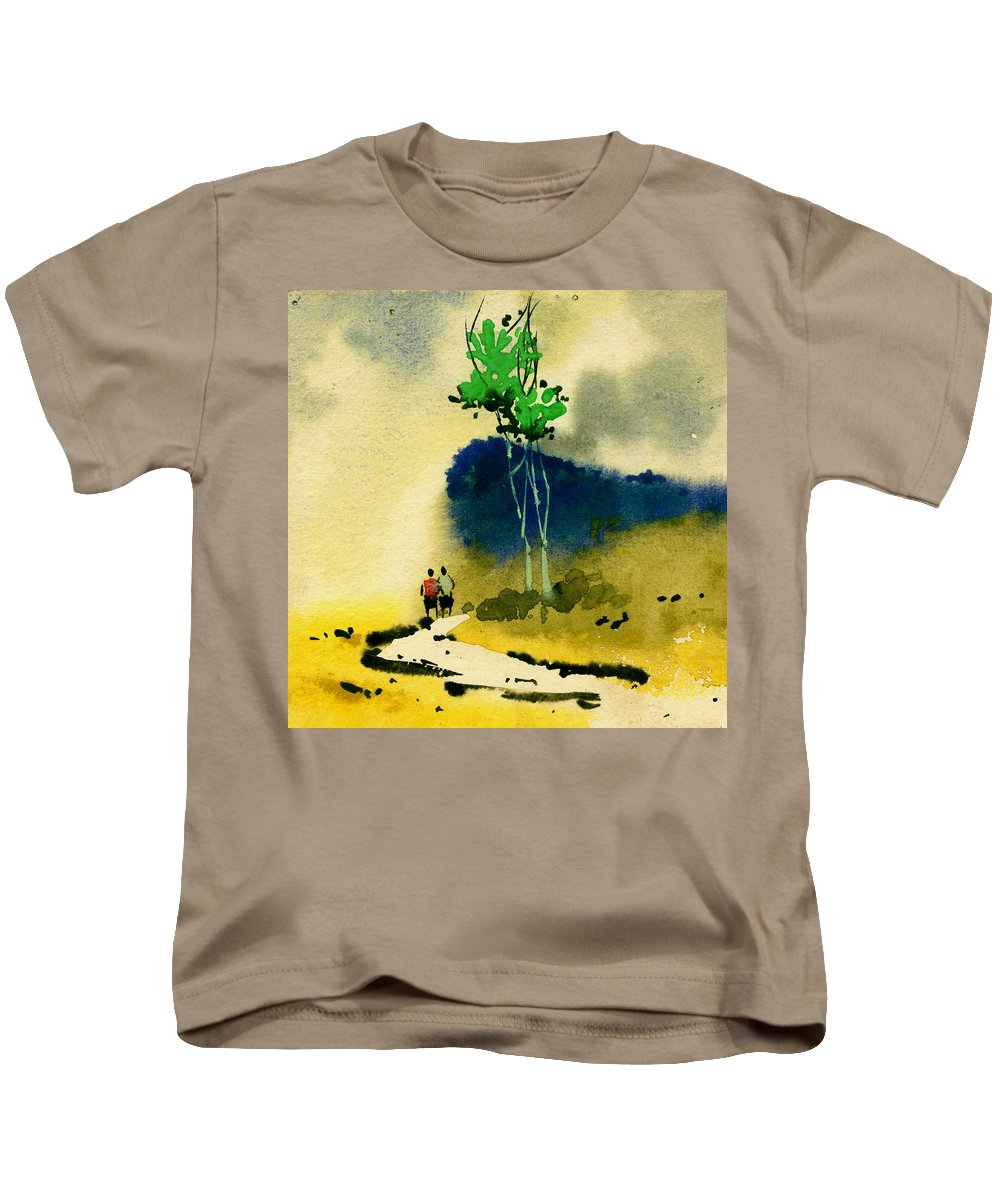 Landscape Kids T-Shirt featuring the painting Buddies by Anil Nene