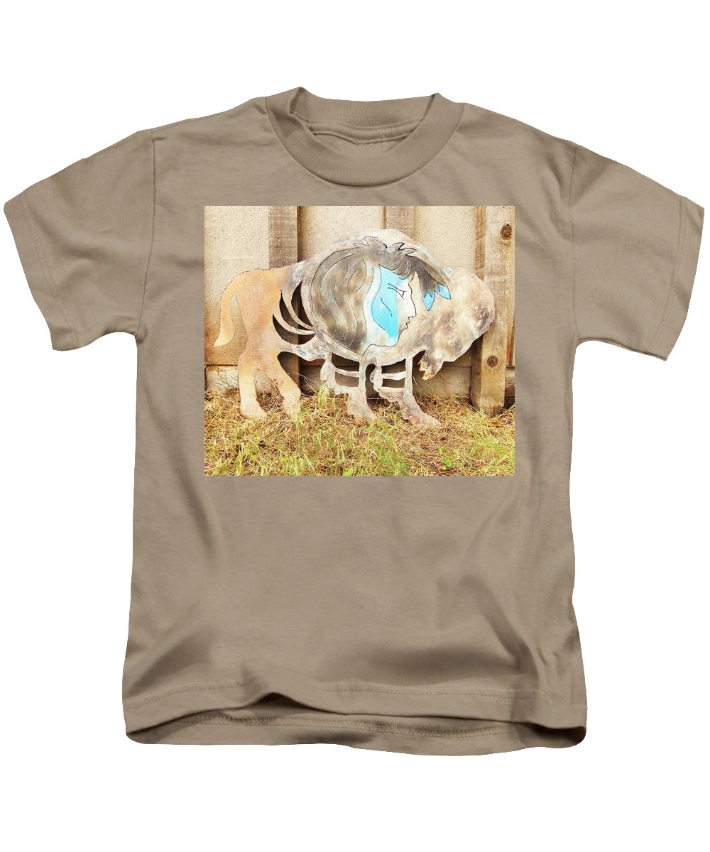 Buffalo Kids T-Shirt featuring the photograph Buffalo Dreams by Larry Campbell