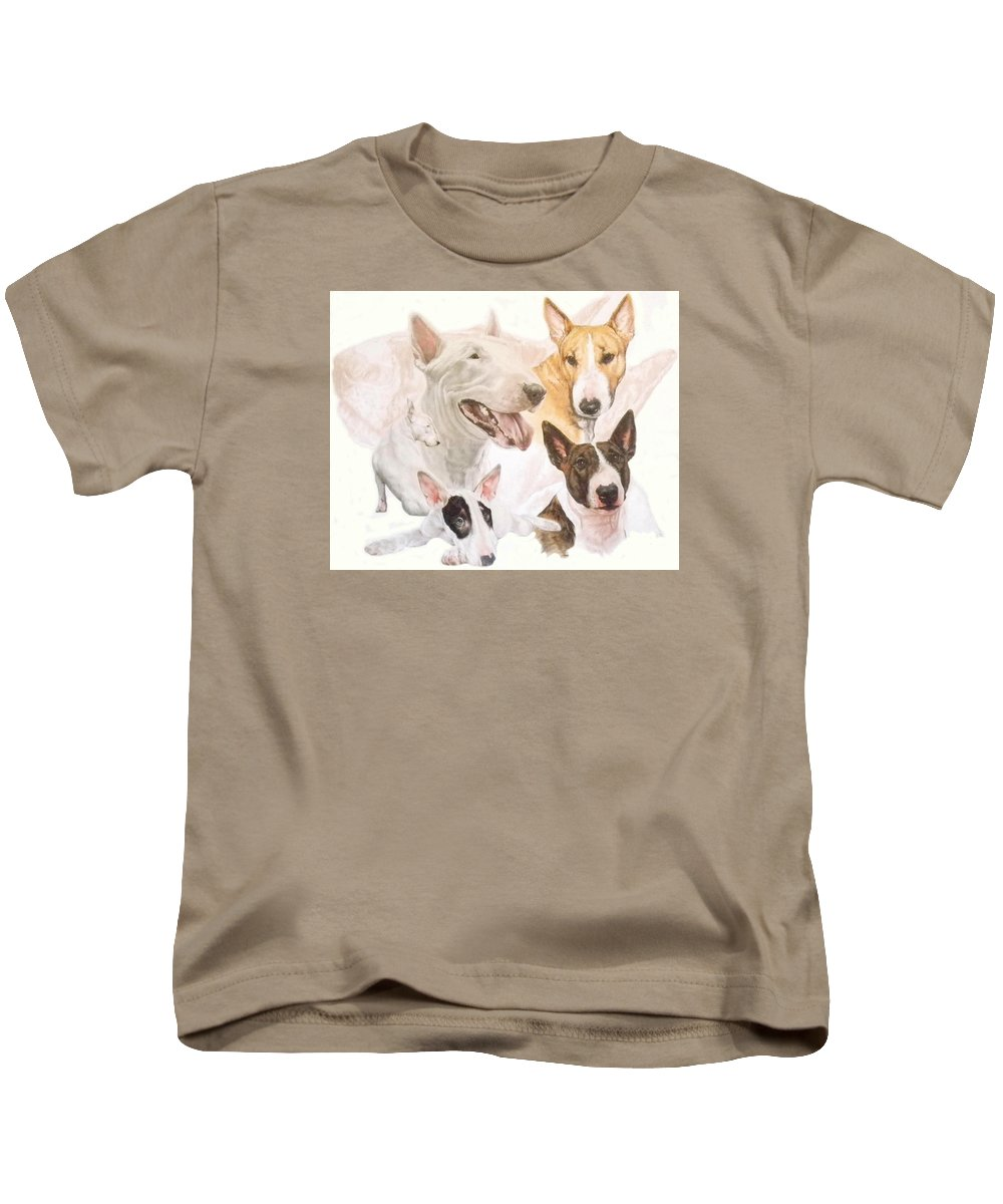 Purebred Kids T-Shirt featuring the mixed media Bull Terrier W/ghost by Barbara Keith