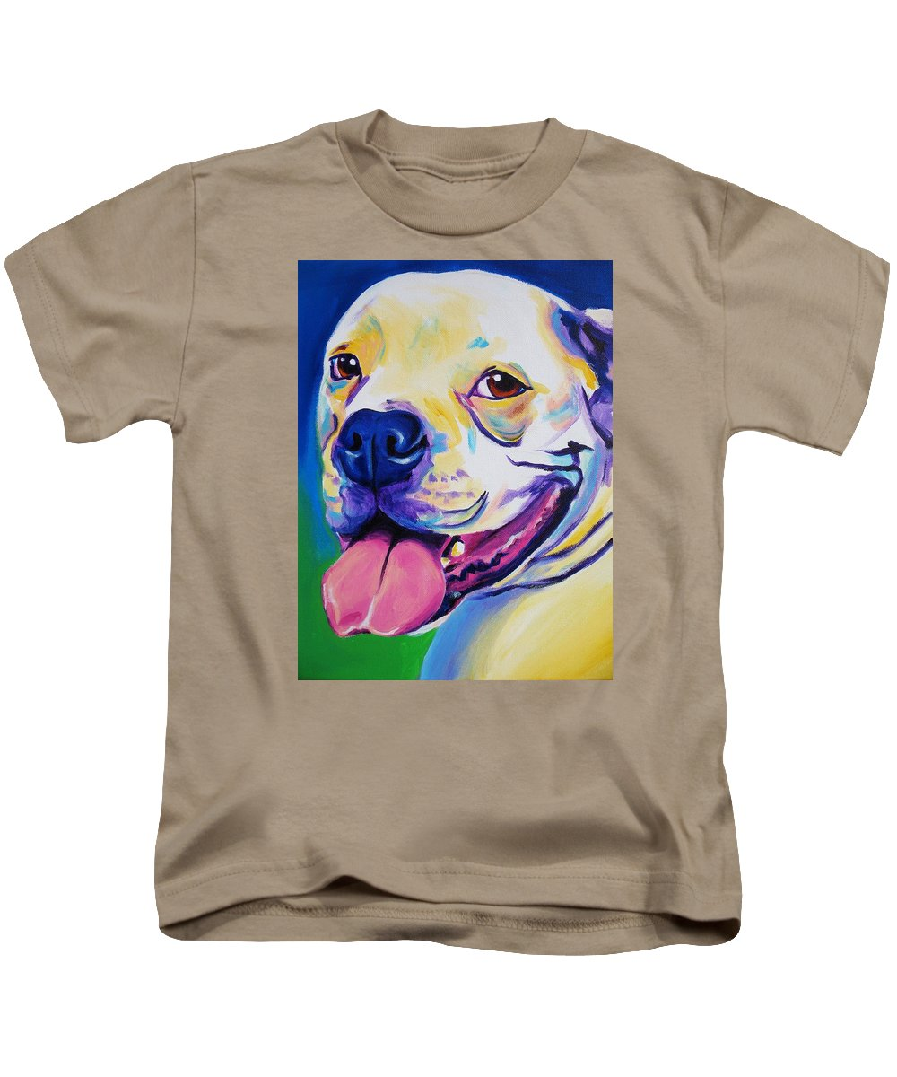 Colorful Bulldog Kids T-Shirt featuring the painting American Bulldog - Luke by Alicia VanNoy Call