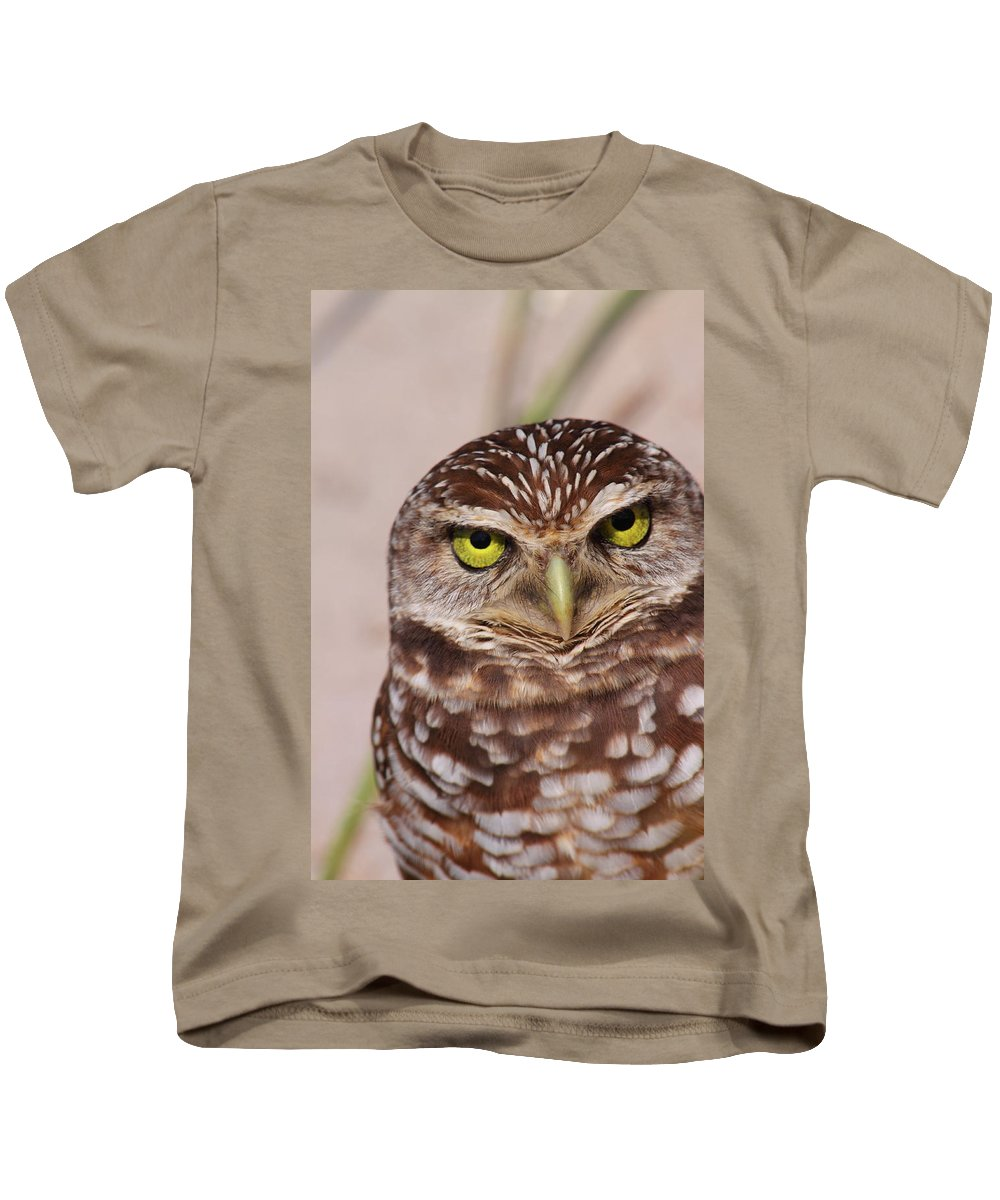 Burrowing Owl Kids T-Shirt featuring the photograph Burrowing Owl by Bruce J Robinson