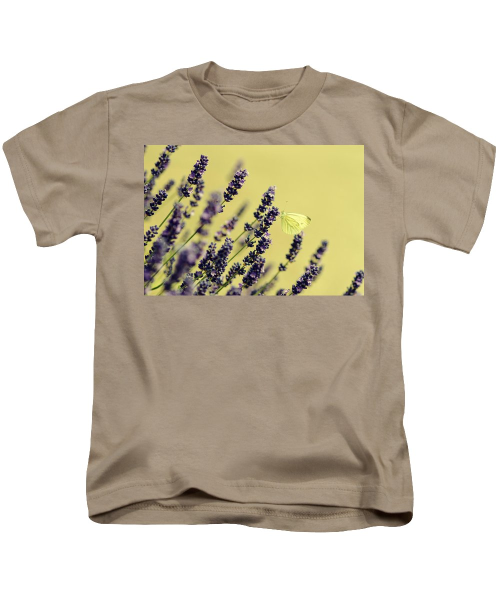 Flower Kids T-Shirt featuring the photograph Butterfly On Lavender Flowers by Mike Santis