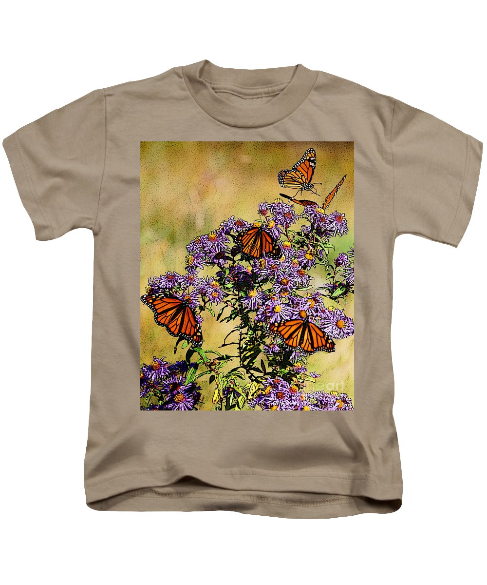 Diane Berry Kids T-Shirt featuring the drawing Butterfly Party by Diane E Berry