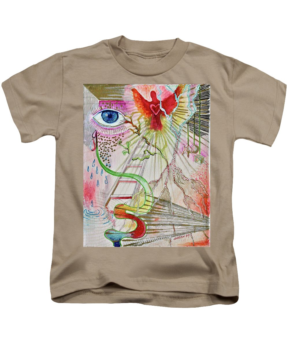 Drawing Kids T-Shirt featuring the drawing C-factor by Gideon Cohn