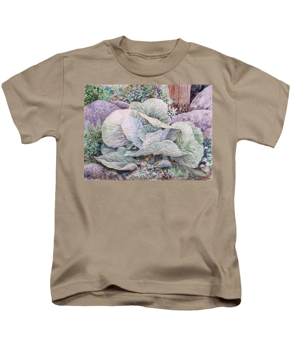 Leaves Kids T-Shirt featuring the painting Cabbage Head by Valerie Meotti