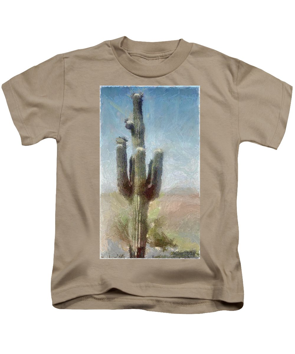 Phoenix Kids T-Shirt featuring the painting Cactus by Jeffrey Kolker