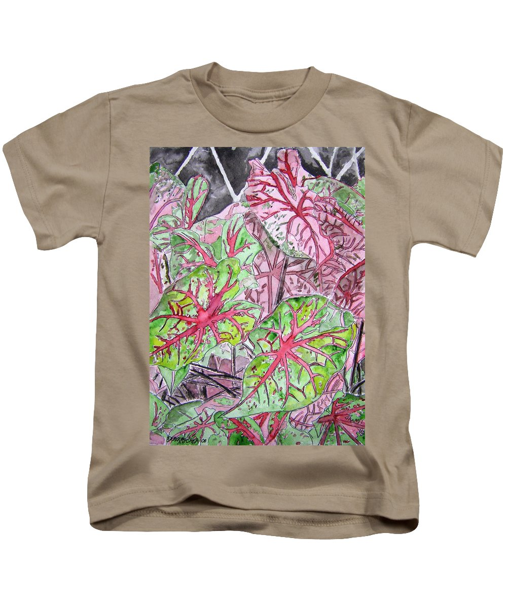 Watercolour Kids T-Shirt featuring the painting Caladiums Tropical Plant Art by Derek Mccrea