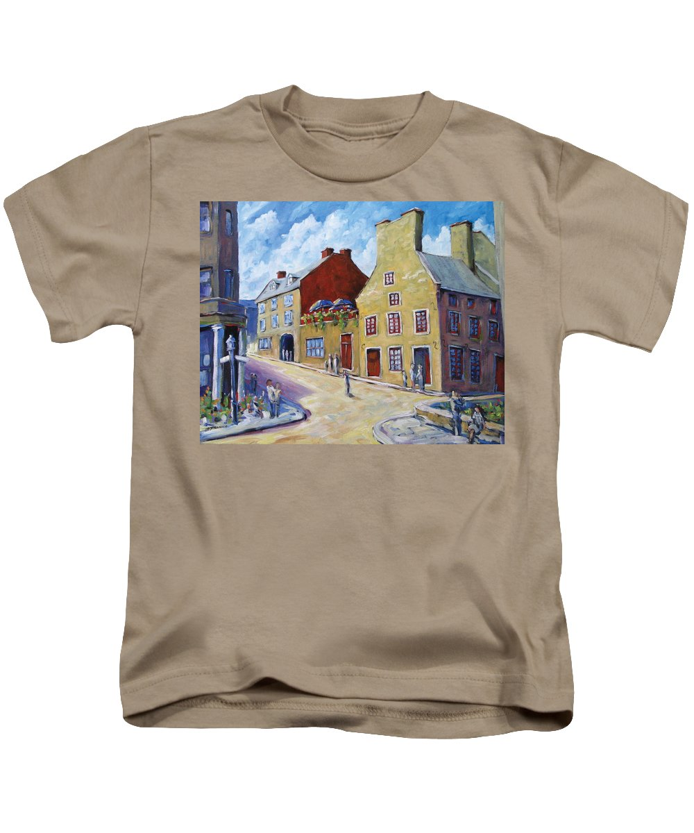 Rural Kids T-Shirt featuring the painting Calvet House Old Montreal by Richard T Pranke