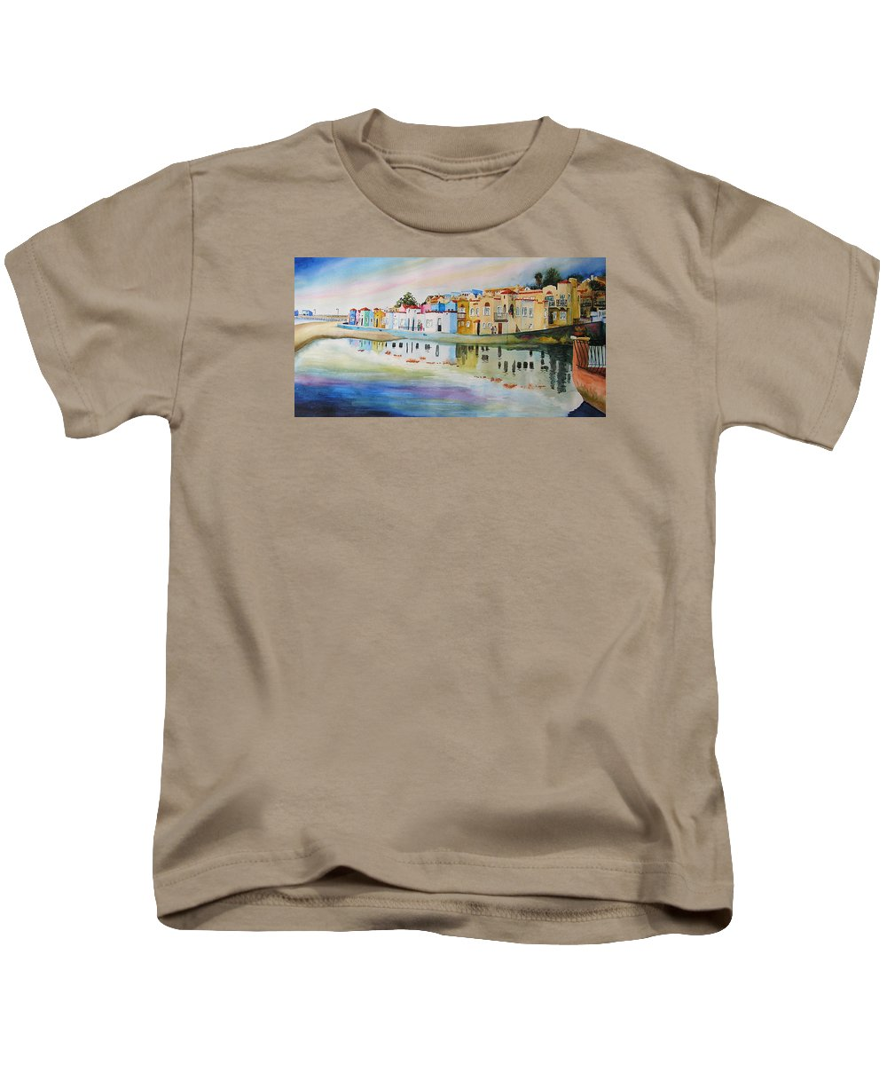 Capitola Kids T-Shirt featuring the painting Capitola by Karen Stark