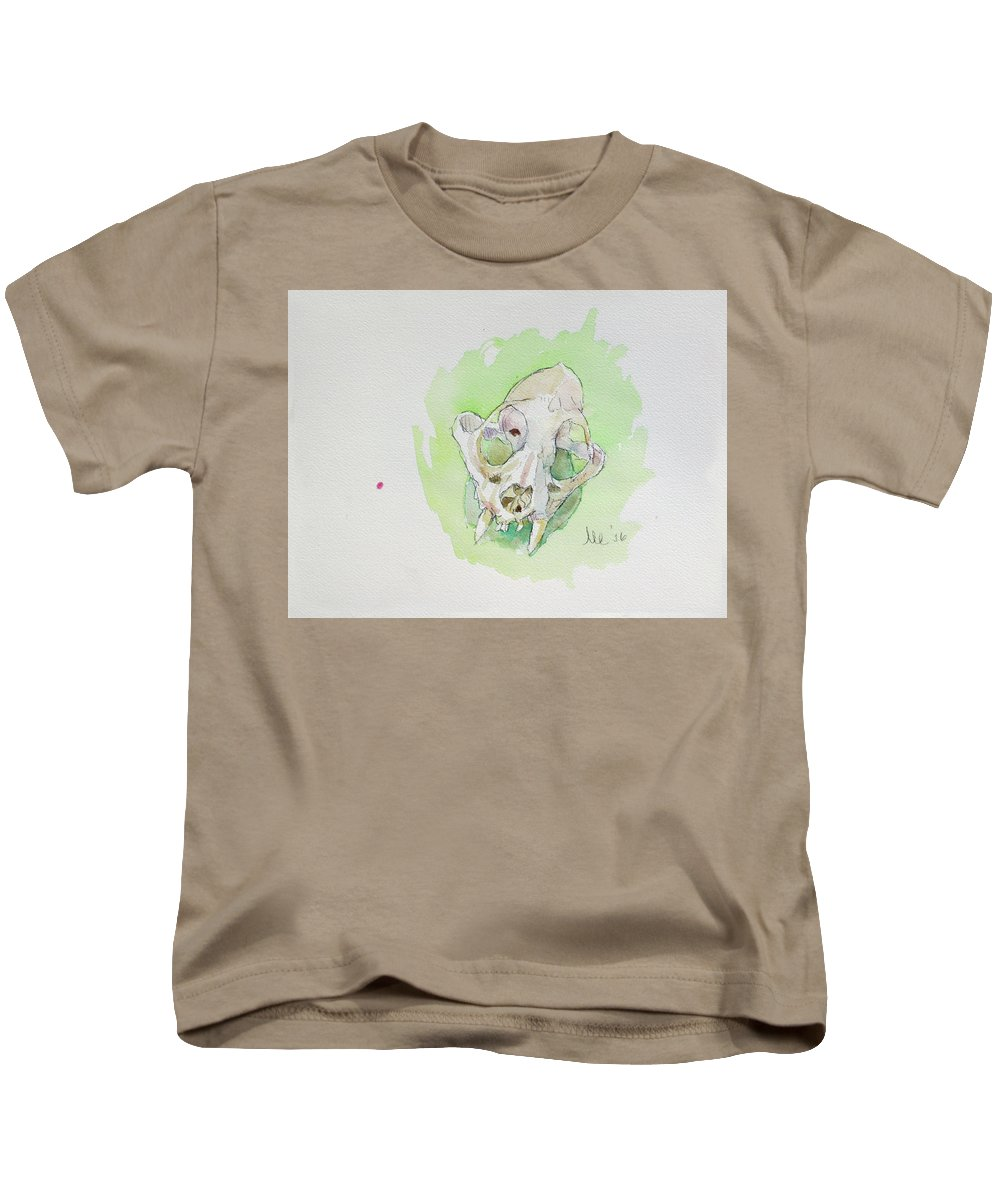 Still Life Kids T-Shirt featuring the painting Caracal Skull by Marc Clamage