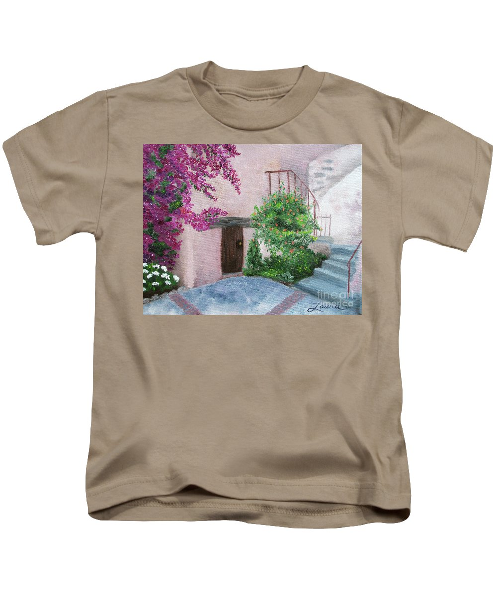 California Kids T-Shirt featuring the painting Carmel Mission Side Door by Laura Iverson