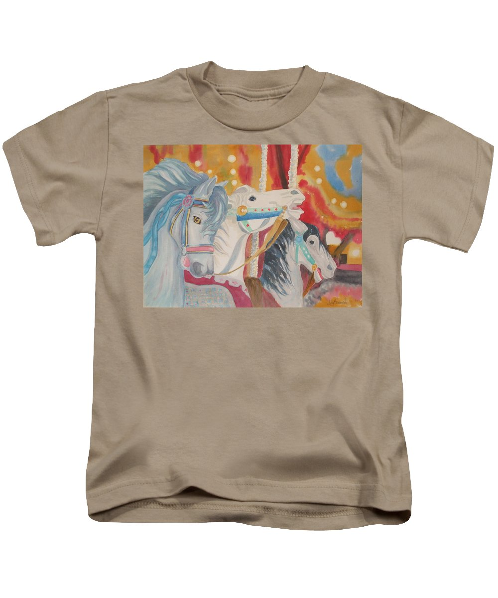 Carousel Kids T-Shirt featuring the painting Carousel 1 by Ally Benbrook