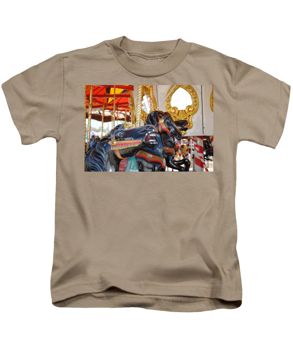 Horse Kids T-Shirt featuring the photograph Carousel by Jost Houk