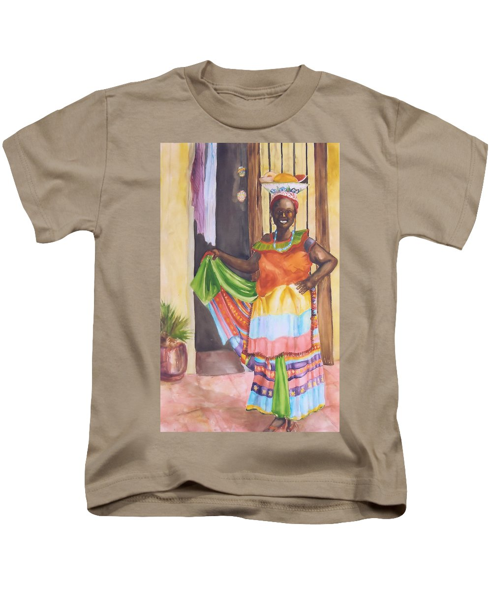 Columbia Kids T-Shirt featuring the painting Cartegena Woman by Charme Curtin