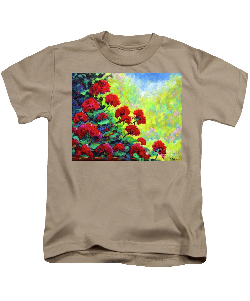 Art Original Kids T-Shirt featuring the painting Cascade Of Geraniums by Richard T Pranke
