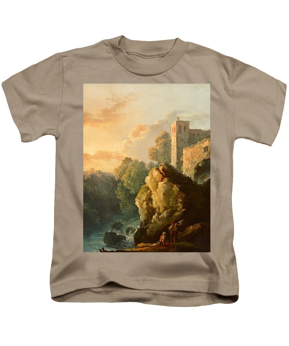 Painting Kids T-Shirt featuring the painting Castle And Waterfall by Mountain Dreams