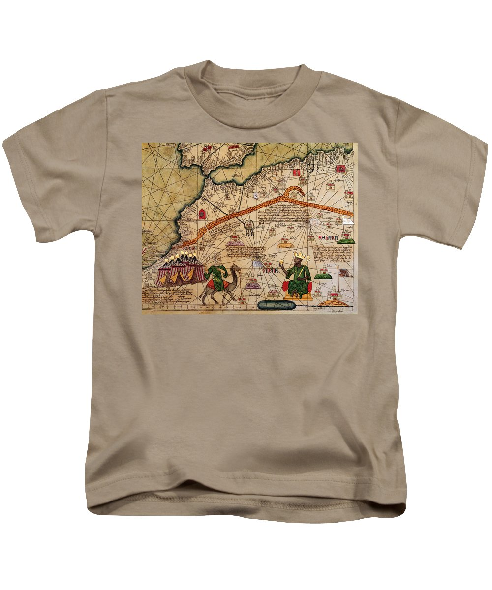 Detail Kids T-Shirt featuring the drawing Catalan Map Of Europe And North Africa Charles V Of France In 1381 by Abraham Cresques