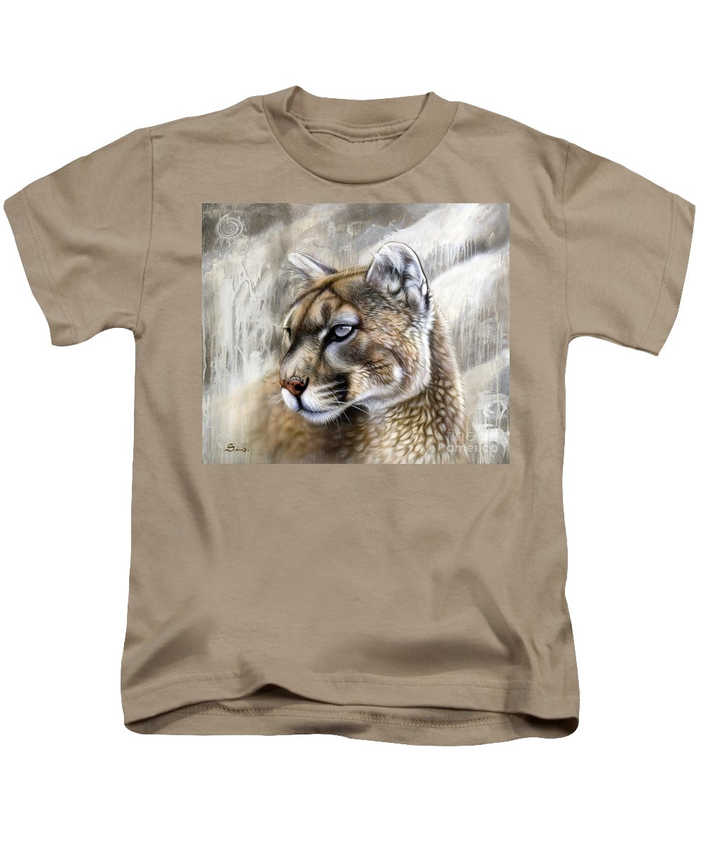 Acrylic Kids T-Shirt featuring the painting Catamount by Sandi Baker