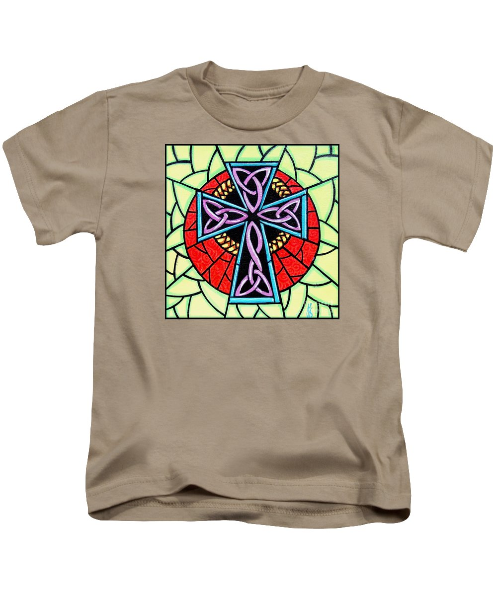 Celtic Kids T-Shirt featuring the painting Celtic Cross by Jim Harris