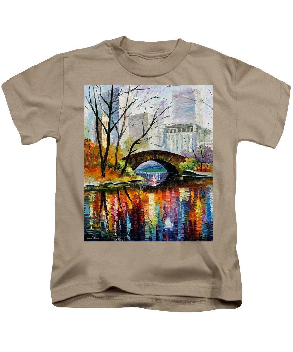 Landscape Kids T-Shirt featuring the painting Central Park by Leonid Afremov