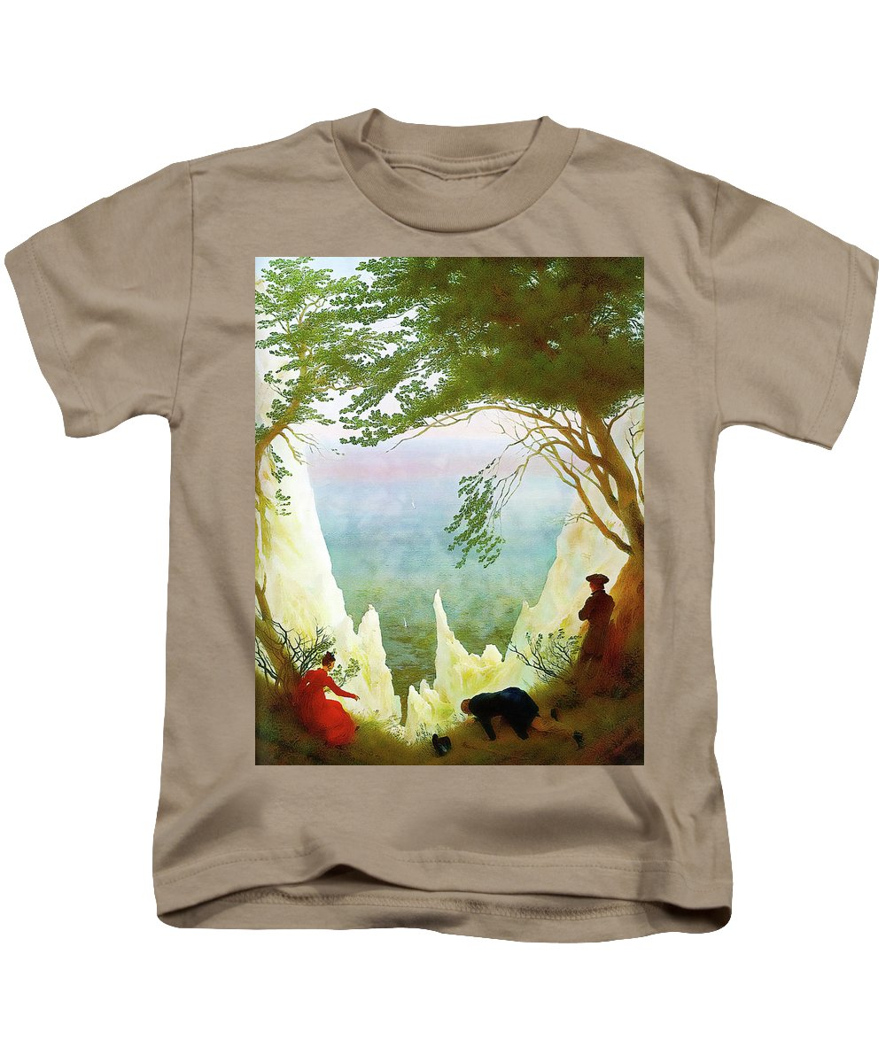 Landscape Kids T-Shirt featuring the painting Chalk Cliffs On Rugen by Media Impasto Paper
