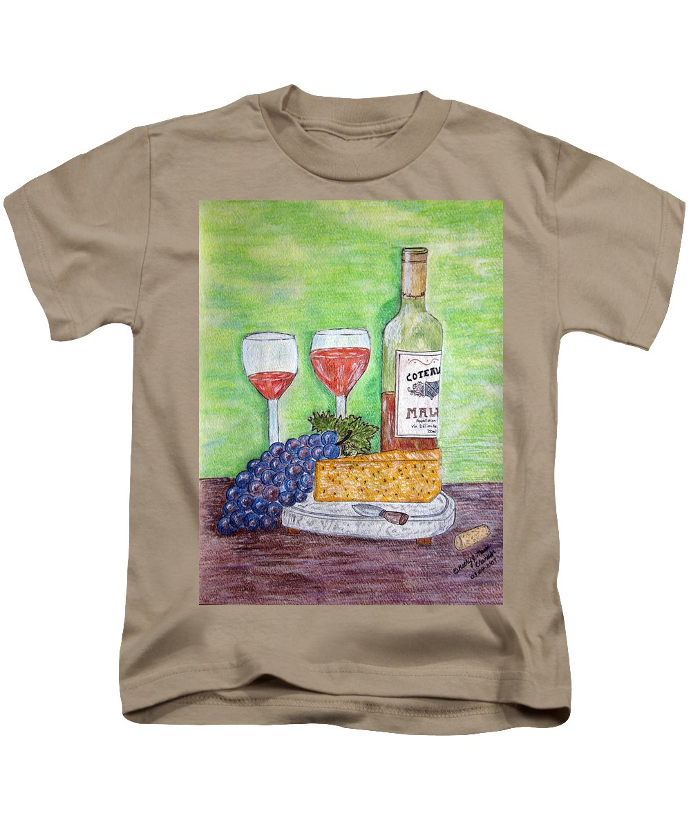 Cheese Kids T-Shirt featuring the painting Cheese Wine And Grapes by Kathy Marrs Chandler