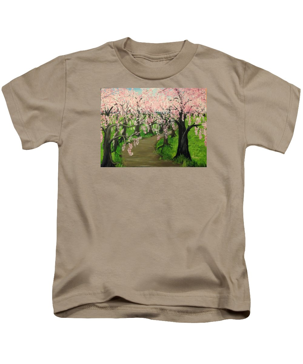 Landscape Kids T-Shirt featuring the painting Cherry Blossom Walk by Helene Thomason