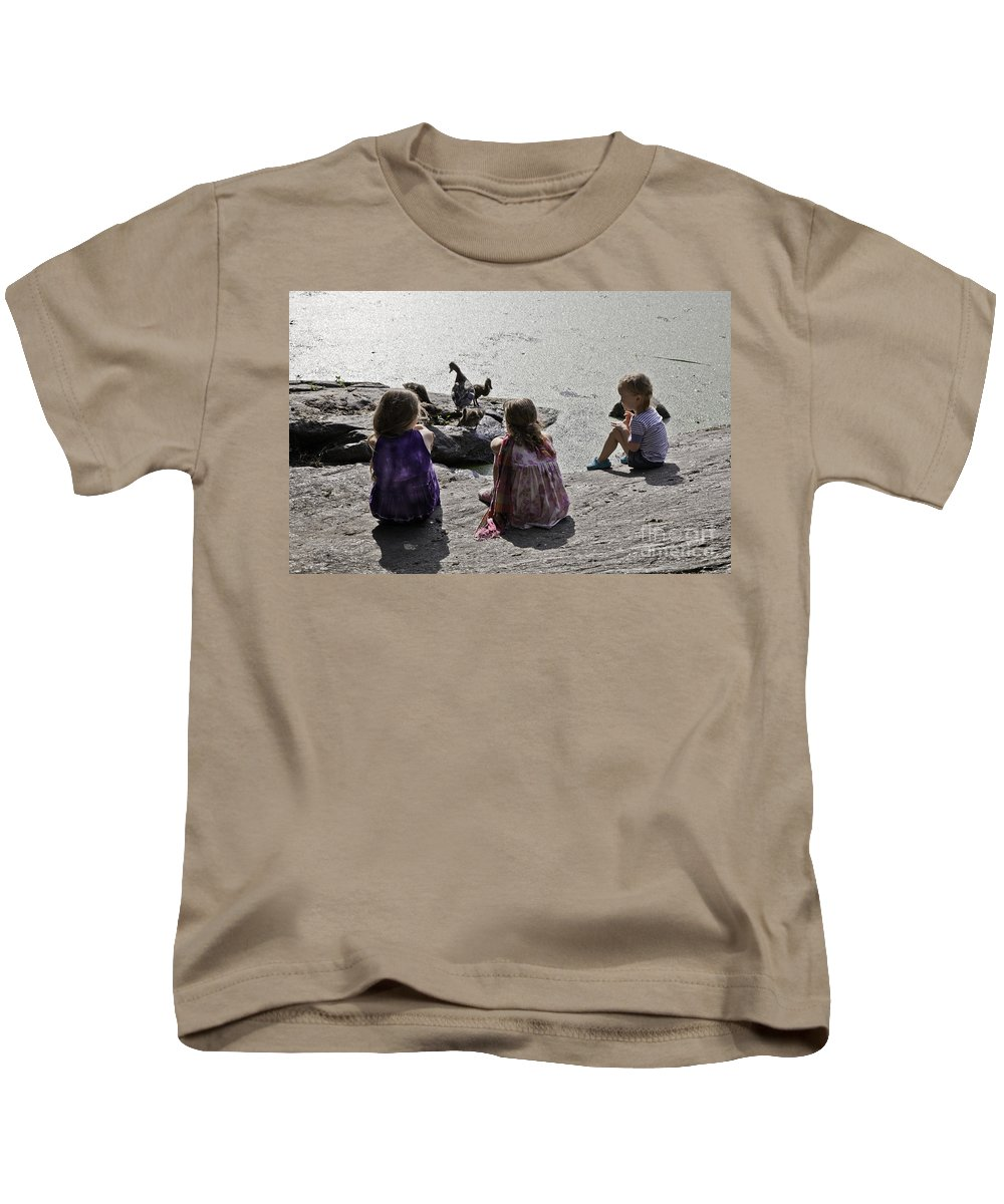 Children Kids T-Shirt featuring the photograph Children At The Pond 2 by Madeline Ellis