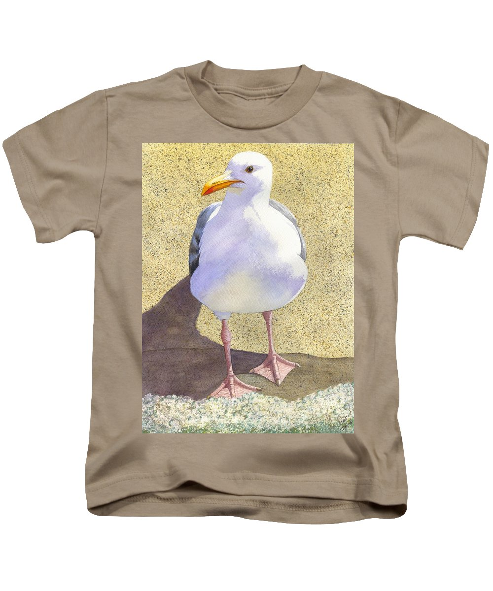 Seagull Kids T-Shirt featuring the painting Chilly by Catherine G McElroy