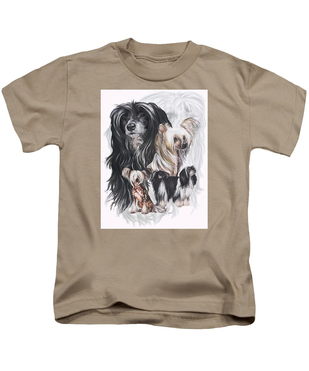 Toy Class Kids T-Shirt featuring the mixed media Chinese Crested And Powderpuff W/ghost by Barbara Keith