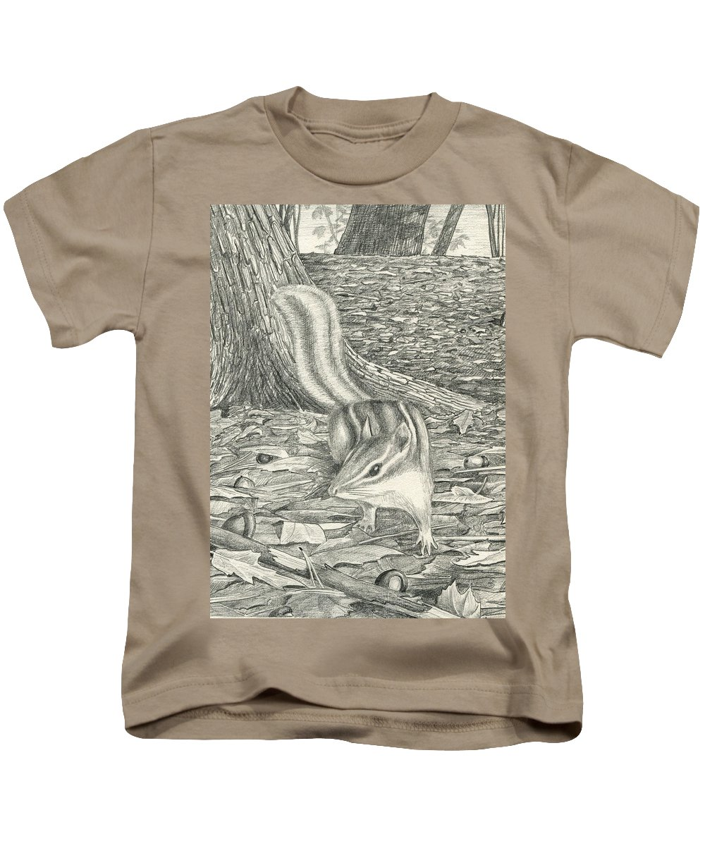 Chipmonk Kids T-Shirt featuring the drawing Chipmonk by Harry Moulton