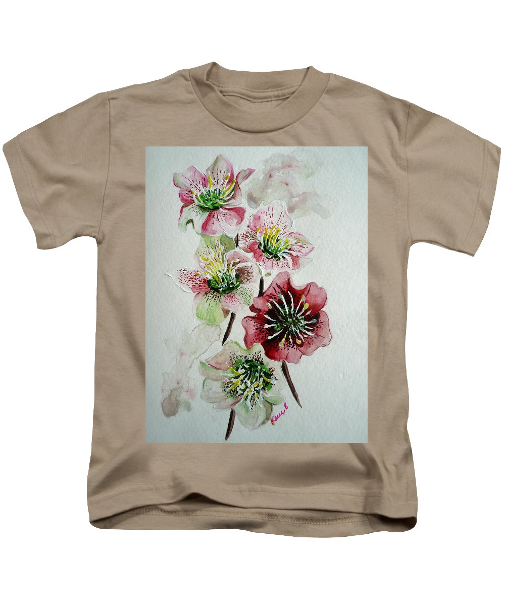 Floral Flower Pink Kids T-Shirt featuring the painting Christmas Rose by Karin Dawn Kelshall- Best