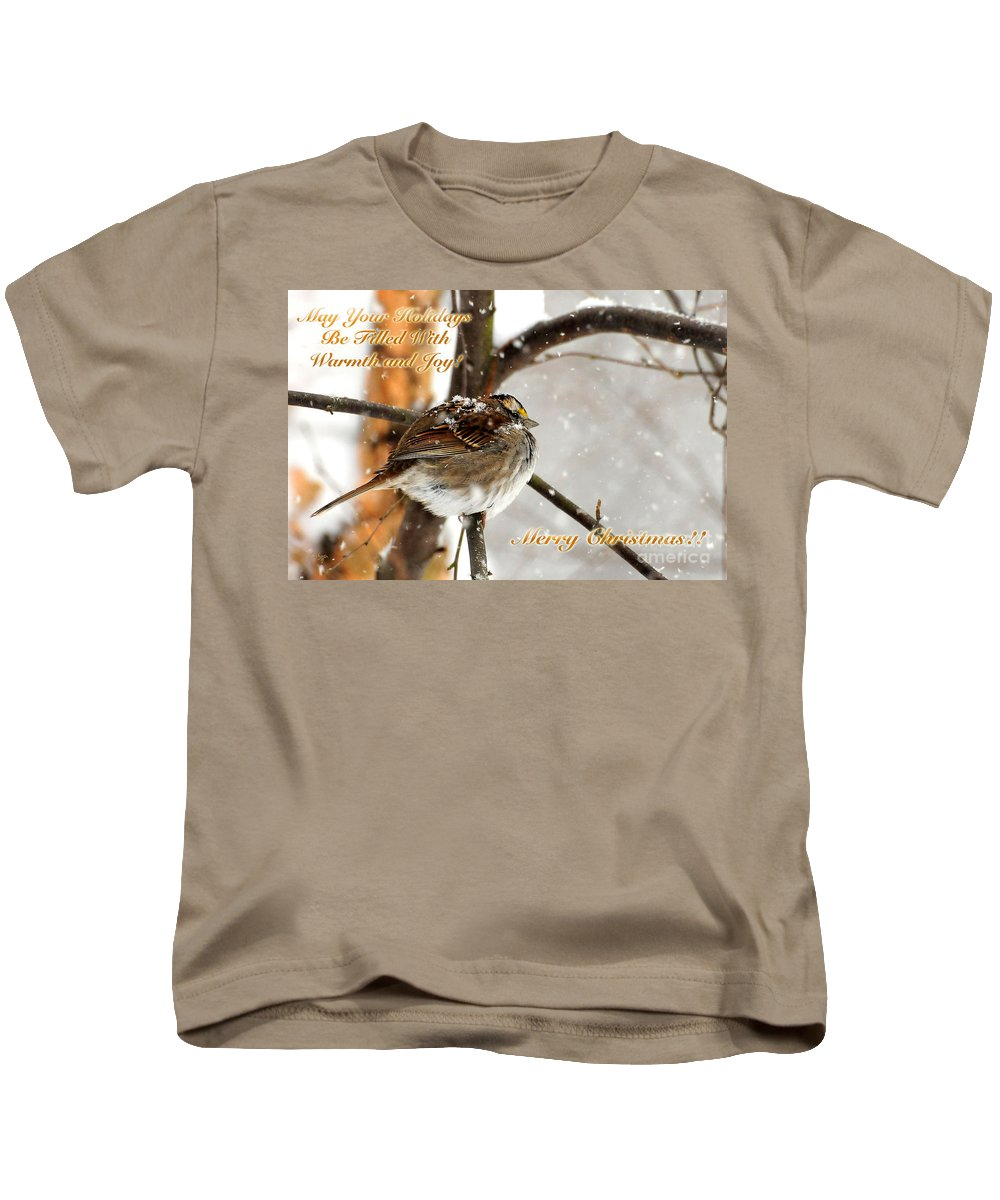 Christmas Kids T-Shirt featuring the photograph Christmas Sparrow - Christmas Card by Lois Bryan