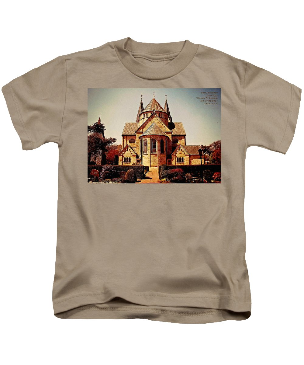 Announcement Kids T-Shirt featuring the painting Church To Worship The Living God Catus 1 No. 1 H A by Gert J Rheeders