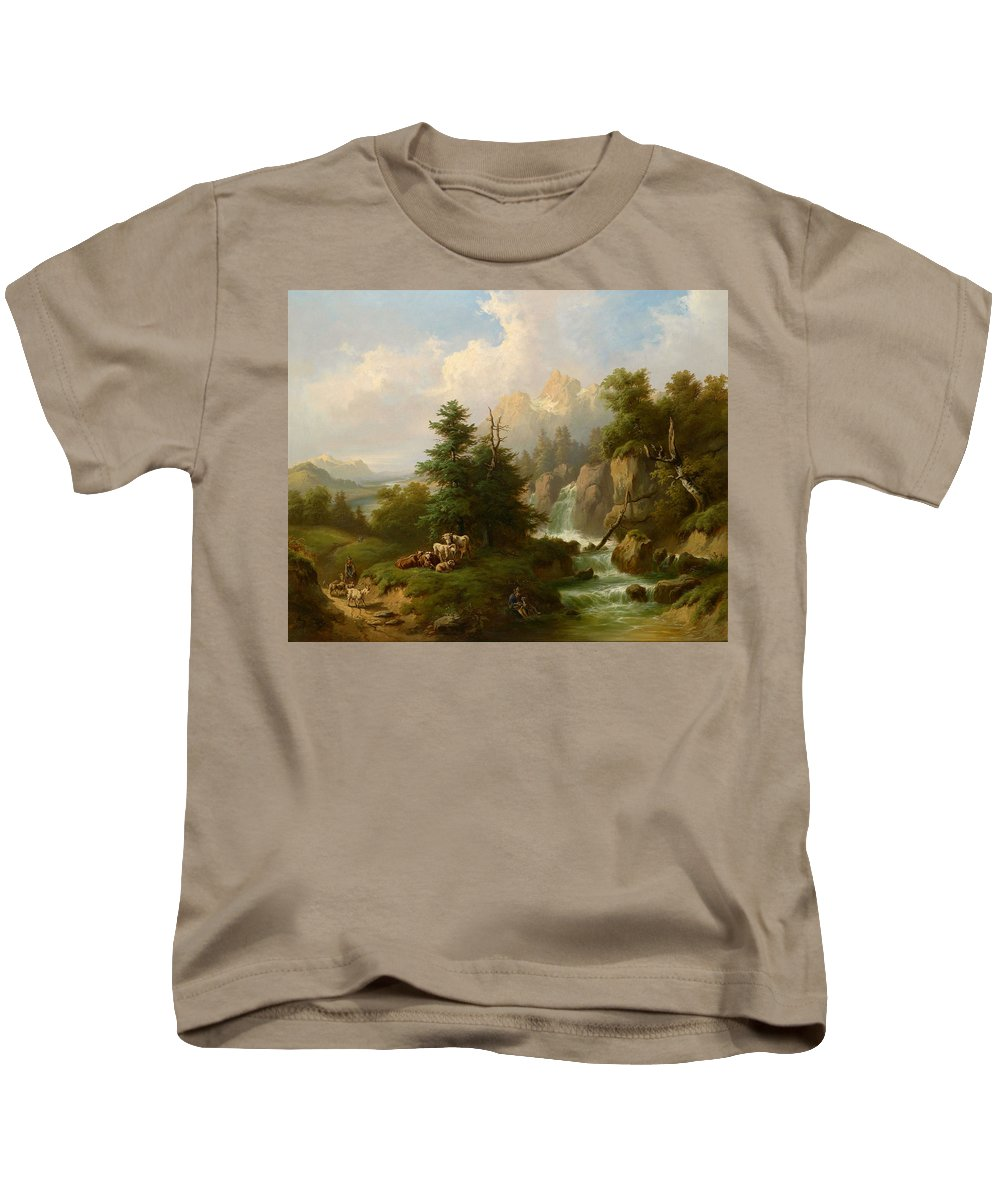 Carl Schweninger Sr. (1818-1887) Circle Herdsmen Resting In An Open Mountain Landscape Kids T-Shirt featuring the painting Circle Herdsmen Resting by Carl Schweninger