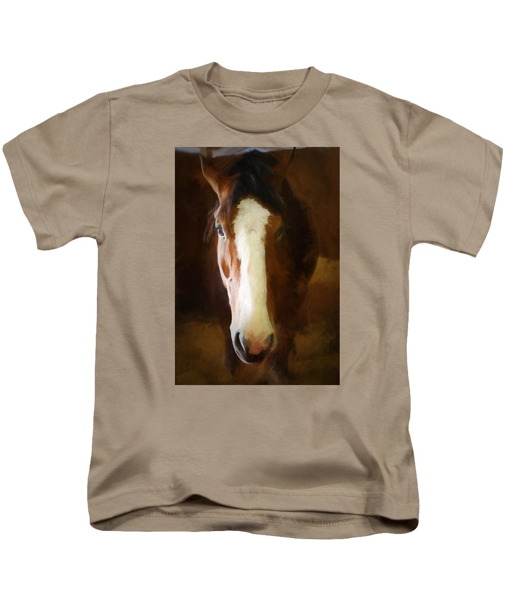 Clydesdale Kids T-Shirt featuring the photograph Clydesdale by Claudia Daniels